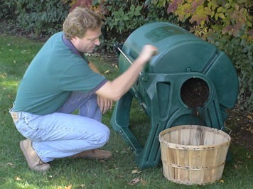 Emptying Garden Clippings From Composter