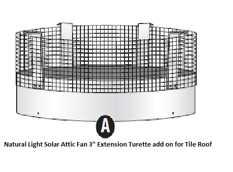 Natural Light Solar Attic Fan Turret Extension